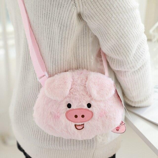 2019 novos Bonitos Do Bebê Mochila De Pelúcia Saco Bonito Dos Desenhos Animados porco Cor de Rosa de Pelúcia Macia do Brinquedo das Crianças Saco de Escola para o Miúdo