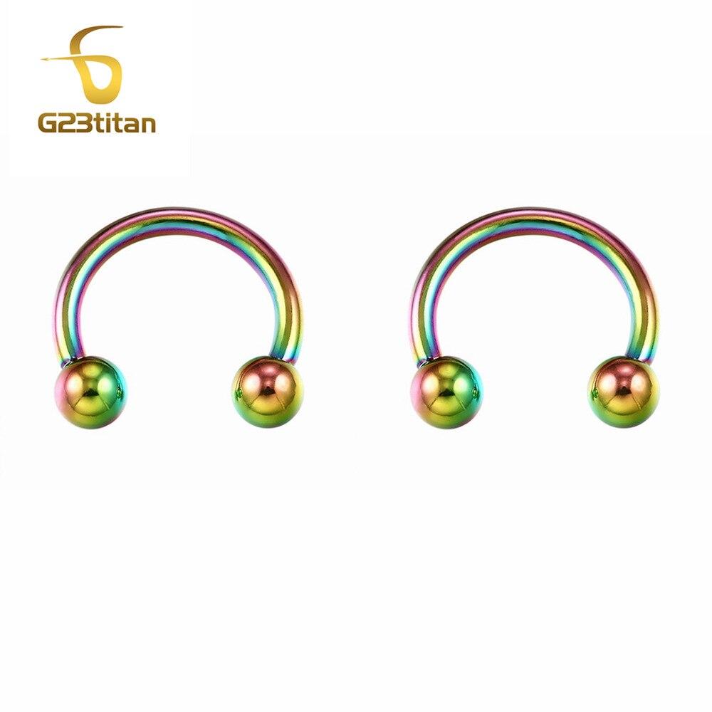 G23titan Rock Double Sided Earrings with 3mm Ball G23 Titanium Ear Studs Women Men Earrings Jewelry