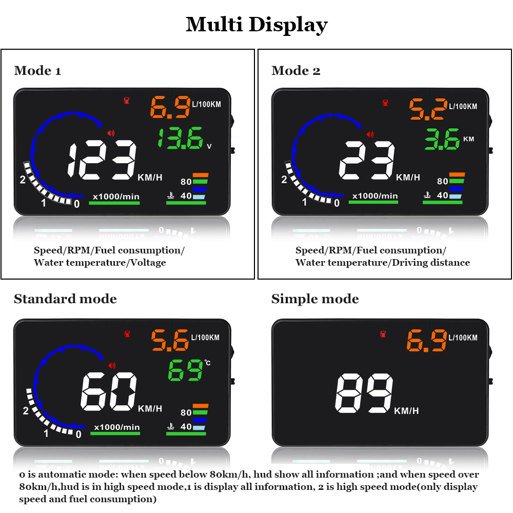 Image 3 - Genuine OBDHUD A8 5.5In HeadUp Display Car Windshield Projector OBDII Speed Warning Fuel Consumption Automobile Car Alarm System-in Head-up Display from Automobiles & Motorcycles