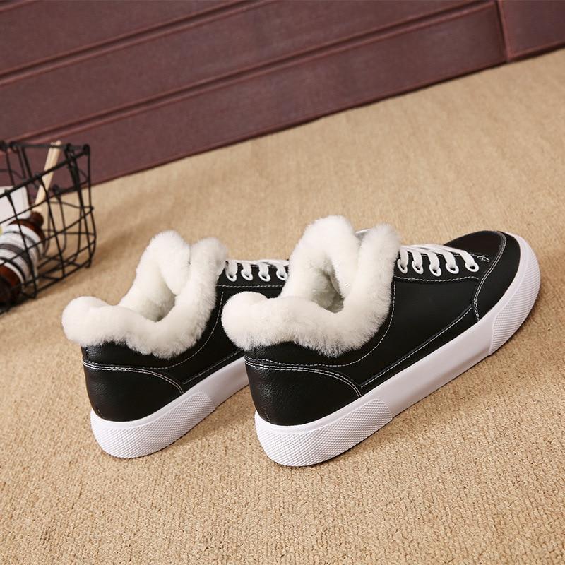 Plat Femmes Chaud Zapatos Hiver Bout black White En Toisons Classique Véritable Peluche Cuir Sneakers Mujer Blanc Chaussures Rond Occasionnels De Fwq5Pg
