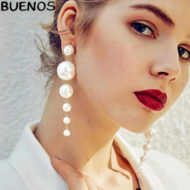 BUENOS 2019 Long Trendy Elegant Created Big Pearl Eardrop Woman Simple personality Fashion Party Earing Gift Jewery