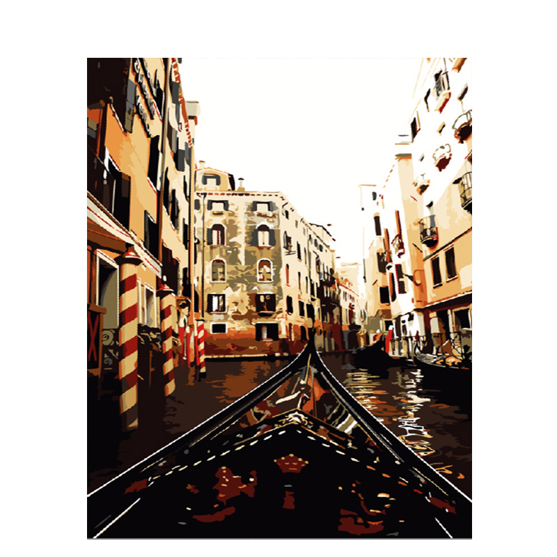 City Landscape Oil Painting By Numbers DIY Digital Abstract Wall Art Home Decors