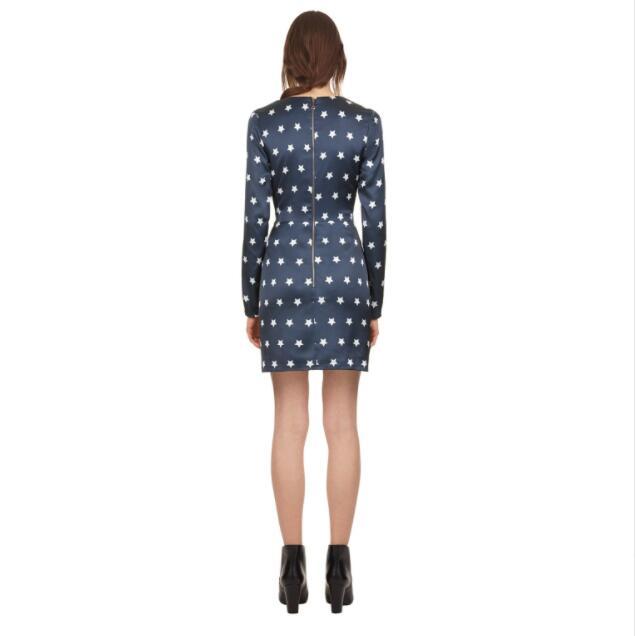 Longues Étoiles Imprimé 2018 Robes Mini Col Femmes ligne Robe Auto Manches Automne Haute À Portrait A V Qualité nxwqp7O74