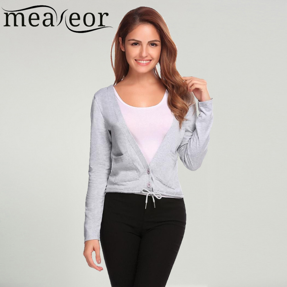 Meaneor Women Sweater Cardigans Long Sleeve Drawstring Hem Casual Button Slim 2017 New Autumn Fashion Cardigan with Pocket Tops