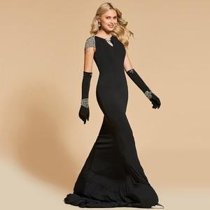 Image 2 - Женское вечернее платье Русалка Dressv, черное платье с глубоким вырезом и коротким рукавом, длиной до пола, с бисером, вечерние свадебные платья