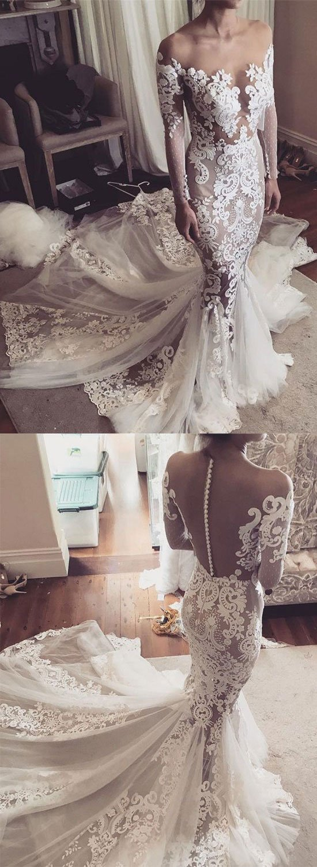 Dentelle Tulle Manches 2018 Robe Sirène Complet De Nude Mariée Appliques Bouton Robes Longue Romantique g465qH4