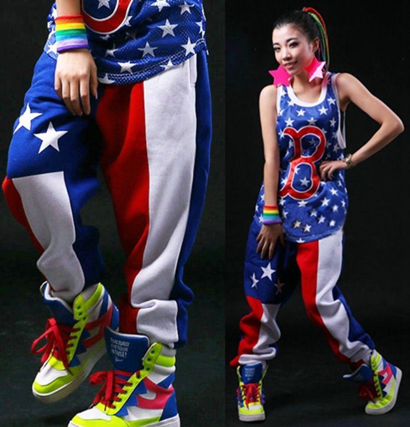 82632e081 2016 جديد أزياء ماركة جاز الحريم النساء الهيب هوب السراويل الرقص الربيع و  الصيف فضفاضة كاندي الألوان السراويل نجوم sweatpants