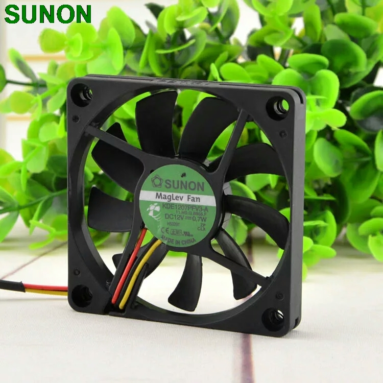 SUNON 7010 7CM maglev 12V 0.7W quiet fan speed KDE1207PFV3-A 70x70x10mm original sunon pmd1207ptv1 a 7025 magnetic levitation maintenance bearing large air volume 7cm fan 70x70x25mm