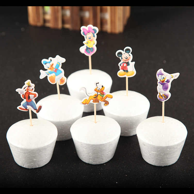 24pcs Lot Mickey Minnie Mouse Donald Duck Theme Cupcake Ice Cream Cake Toppers Kids Birthday