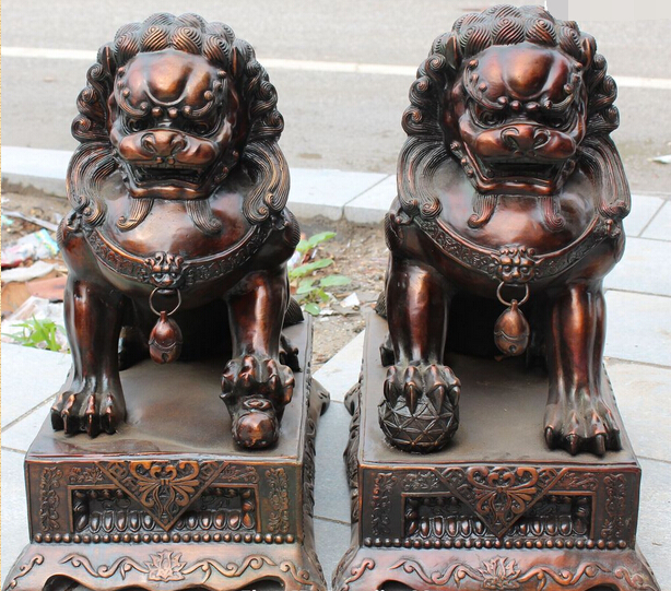 006996 23Chinese Folk Bronze Foo Fu Dog Door Gate Lion Leo Kid Ball Animal Pair Statue