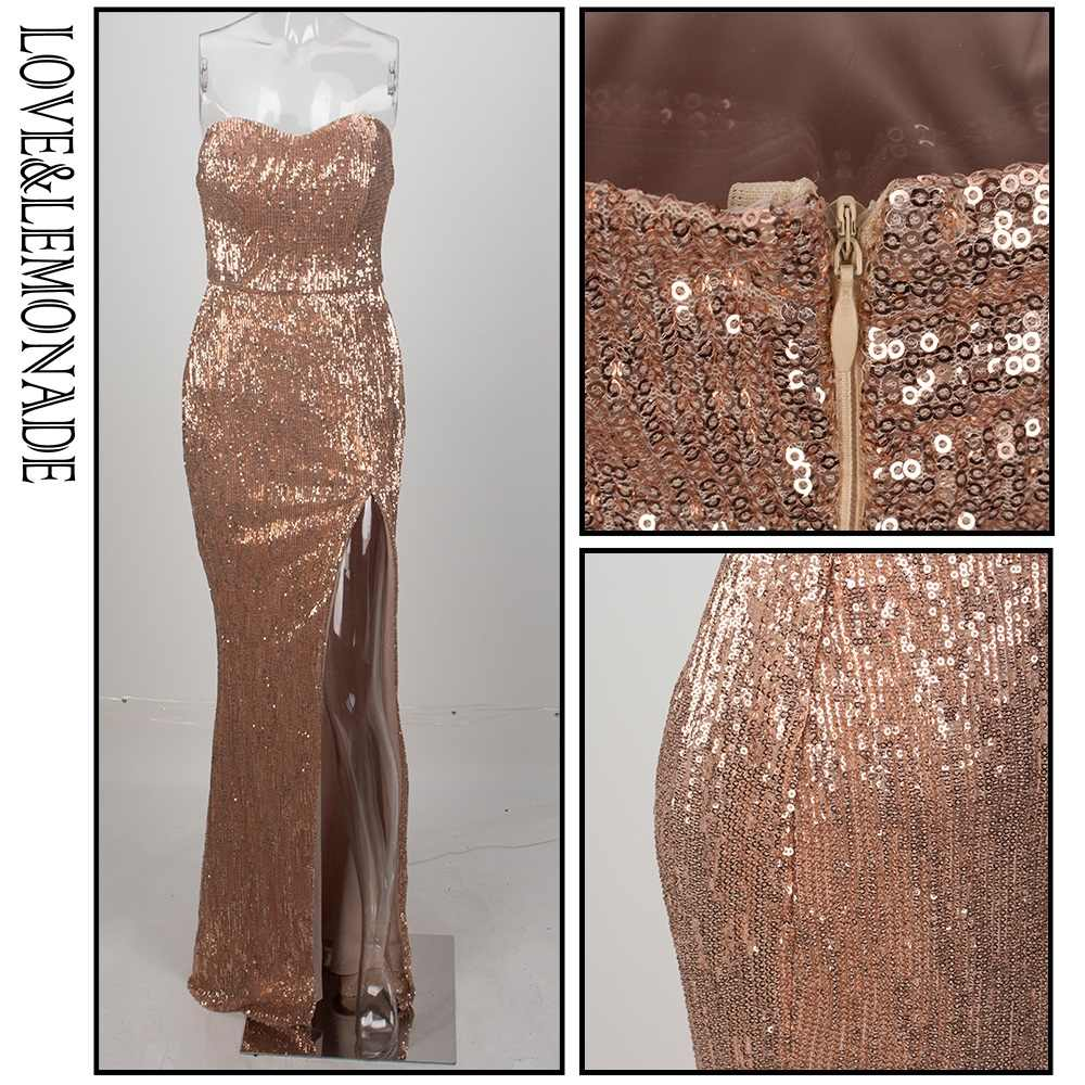 43dee7344b7 ... Love Lemonade Champagne Tube Top Cut Out Fish Tail Shaped Elastic  Sequin Material Long Dress LM1055
