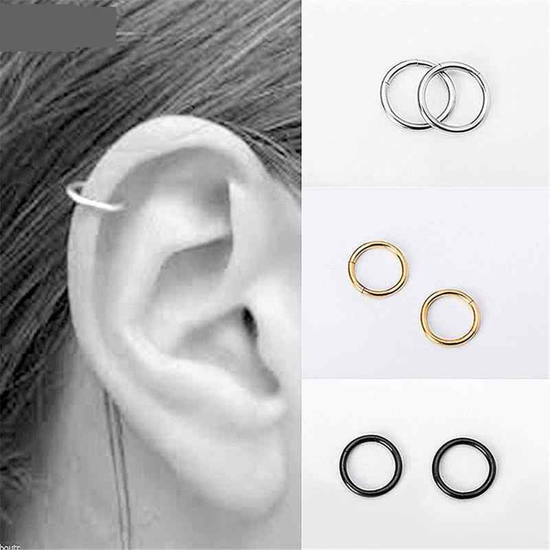 Stainless Steel Nail Hoop Nose Ring Earring Fashion Surgical Steel Nose Piercing Hoop Earring Helix Ear Cartilage Ring Jewelry