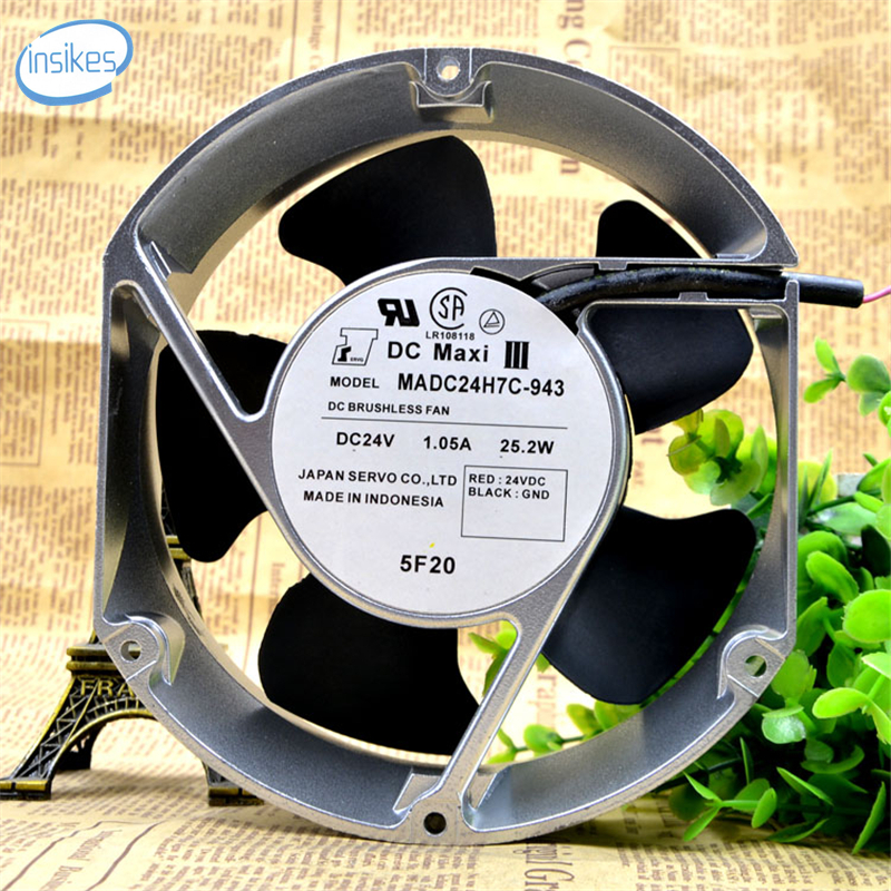 MADC24H7C-943 High Precision Ball Bearings Cooling Fan DC 24V 1.05A 25.2W 3850RPM 12038 12cm 120*120*38mm 2 Wires original delta afc1212de 12038 12cm 120mm dc 12v 1 6a pwm ball fan thermostat inverter server cooling fan