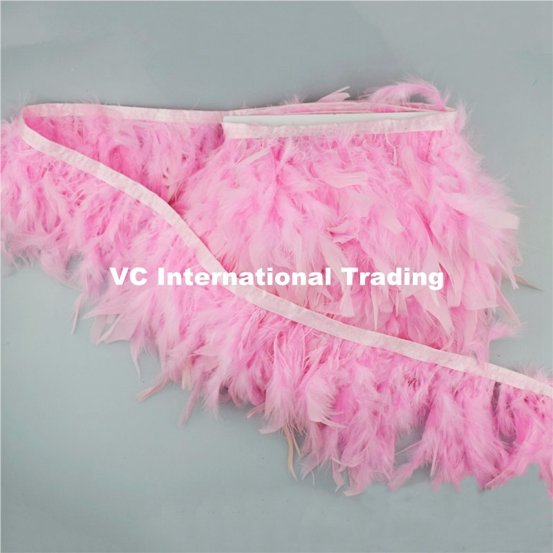 Free shipping 10 yard Turkey feather boas strips trim about 10cm height Pink color Chandelle feather fringes