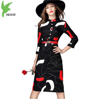New Autumn Winter Women Print Dress Fashion Seven Divide Sleeve Casual Wear Free Belt Slim Lady
