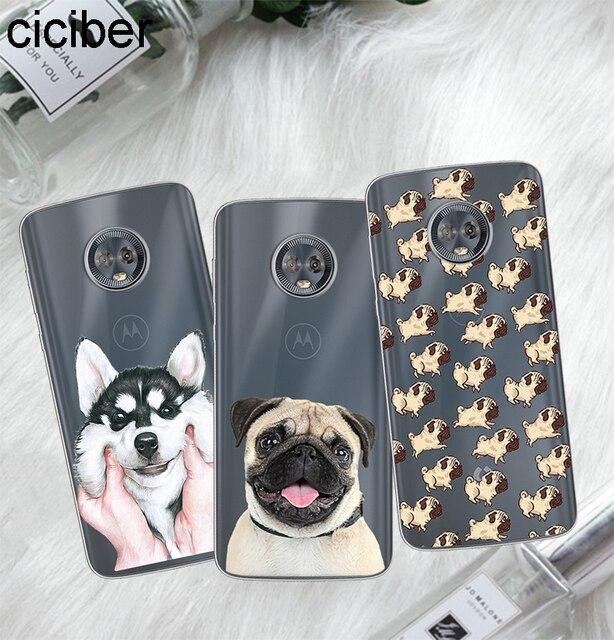 Ciciber para Motorola Moto C Z2 Z3 UM P30 G4 G5 G5S G6 E3 E4 E5 Jogar Mais Poder M x4 Bonito Pug Dog Suave Casos de Telefone Fundas Coque