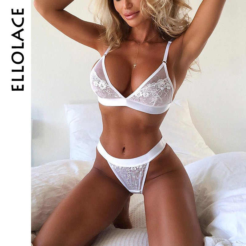 436b96576cb Ellolace Sexy hot underwear sets for women lace transparent lingerie 2019  fashion hollow out bra and