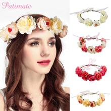 PATIMATE Artificial Garland Wedding Decoration Baby Shower Bachelorette Party Hawaii Bohemia Bride To Be Flowers Hairband