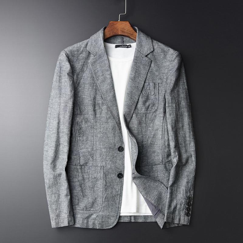 Men Casual Linen Suit Summer Thin Plus Size 4Xl Slim Fit Grey Blazer Man Cotton And Linen Male Linen Suit Brand Clothing A3462