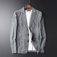 Men Casual Linen Suit Summer Thin Plus Size 4Xl Slim Fit Grey Blazer Man Cotton