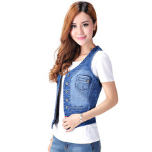 95% Cotton Large size Womens Denim Vest 2016 Summer New Korean Slim thin Sleeveless Shirt Suitable For 80-200 Pounds Of Sister
