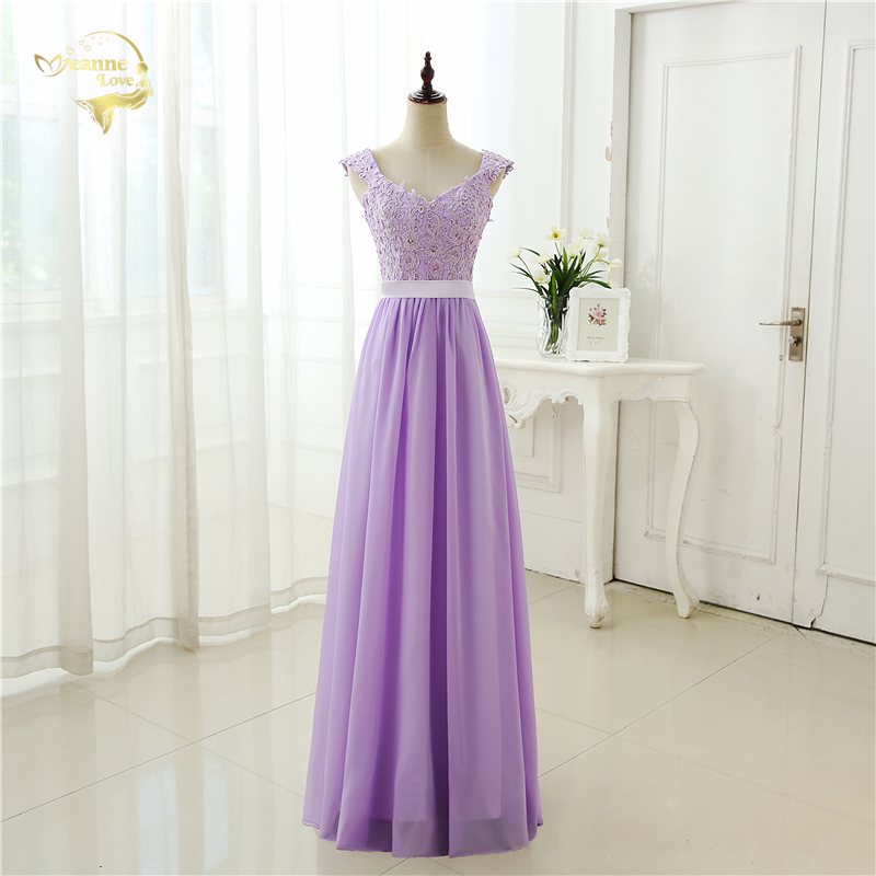Fashion Style Free Shipping 2018 Cap Sleeves Applique Chiffon Pink Blue Red Lilac Purple Evening Dresses Wlf042 Cheap Price
