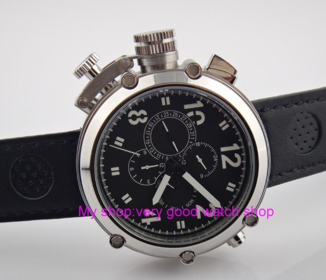 Left-handed model 50mm PARNIS black dial Automatic Self-Wind movement men's watch Multi-function Mechanical watches 201 2