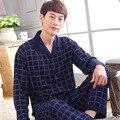 Pijama dos homens Primavera Outono Manga longa Sleepwear Algodão Xadrez Pijama Cardigan Homens Salão Conjuntos de Pijama Plus Size L 3XL