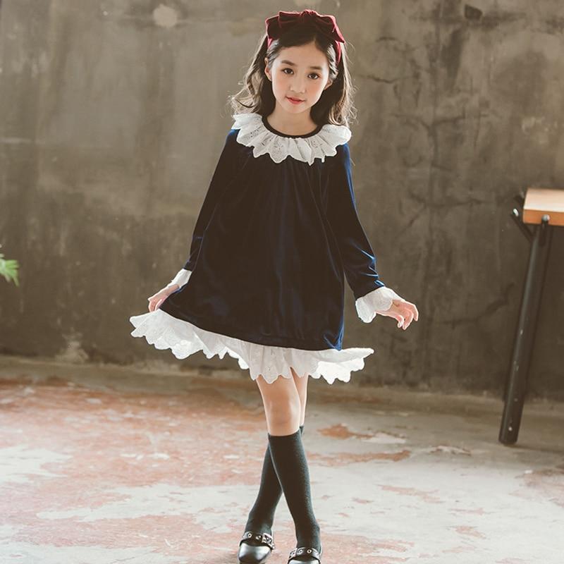 girls velvet dress elegant spring 2019 kids dresses for teenager girls long sleeve vintage princess dress children girl clothes girl