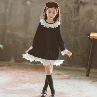 girls velvet dress elegant autumn 2018 kids dresses for girls long sleeve princess vintage clothing children girl fall clothes