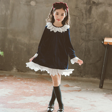 цены girls velvet dress elegant spring 2019 kids dresses for teenager girls long sleeve vintage princess dress children girl clothes