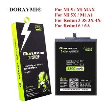 DORAYMI BN31 BN37 BM22 BM47 BM49 Battery for Xiaomi Mi 5 5X A1 Max Redmi 3 3S 3X 4X 6 6A Note 5A Pro Y1 Lite Replacement Bateria xiao mi original phone battery for xiaomi redmi 3 pro 3s 3x note 4 4x 4a 5a 6 6a 7 mi 5 6 4s mi 2 5s plus replacement batteries