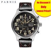 43 мм Parnis кварцевые мужские часы для дайвинга аналоговый хронограф Datejust военные часы пилота 100 м водонепроницаемые мужские наручные часы