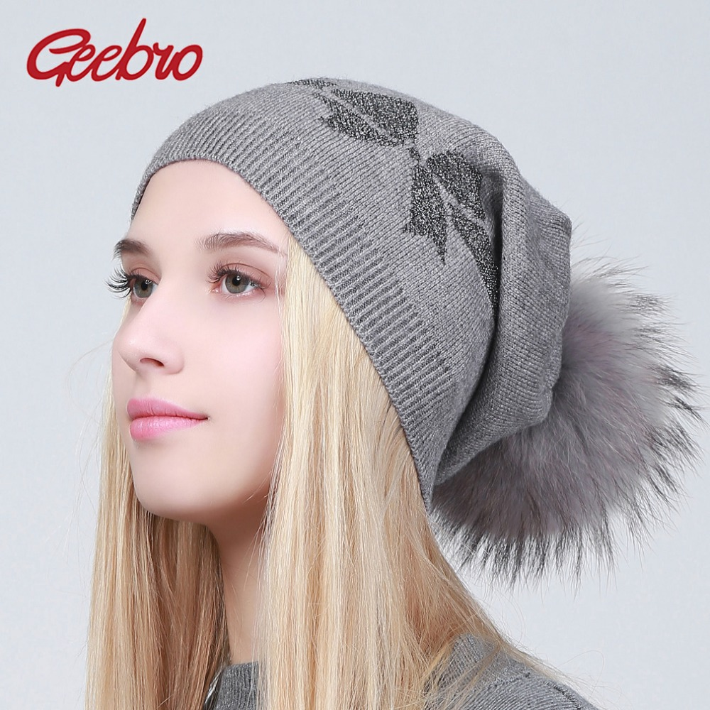 Geebro Women's Beanie Hat Winter Causal Wool Kintted Hat With Real Fur Pom Pom Ladies Silver Printing Cashmere Pompon Beanies