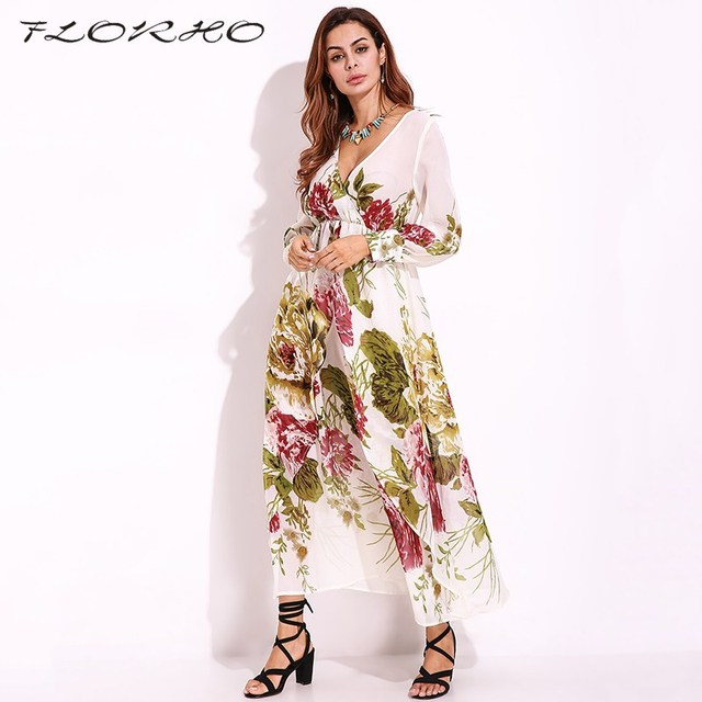 Women Summer Autumn Chiffon Maxi Long Dress Plus Size 5XL Sheer Floral Party  Beach Sexy Deep 922b6e57eb05