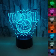 купить Volleyball 3D Table Lamp LED Night Light 7 Colors Changing Bedroom Sleep Lighting Home Decor Gifts дешево