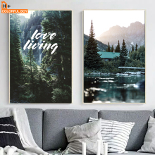 COLORFULBOY Canvas Art Print Forest Mountain Landscape Poster Nordic Wall Painting Pictures For Living Room