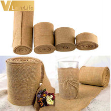 10Meter Ribbon Roll Burlap Table Runners 4Size 5cm/10cm/15cm/30cm Natural Jute Hessian Wedding Party Chair Bands Vintage Home