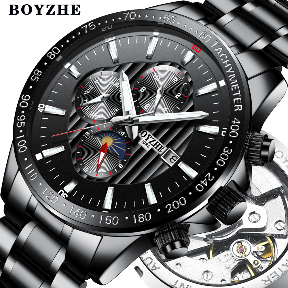 BOYZHE Mens New Automatic Mechanical Watch Stainless Steel Fashion Casual Luminous Luxury Brand Sports Watches Relogio Masculino