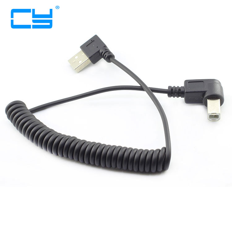 40CM TO 120CM/4ft USB 2.0 Male to 4pin USB B type Right Angle Retractable Data Charging Cable for USB2.0 Printer and Scanner 1 5m 3m black high speed data transfer usb 2 0 male to male scanner printer cable sync data charging wire cord for dell hp canon