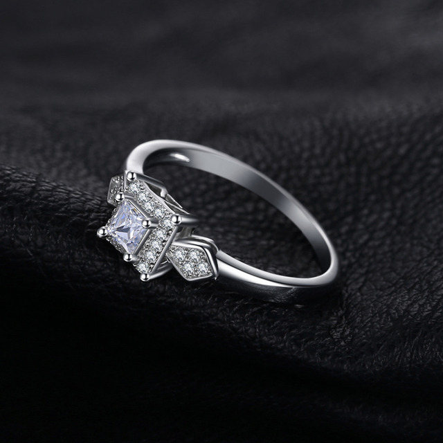 JewelryPalace Princess Cut Cubic Zirconia Wedding Engagement Rings Anniversary 925 Sterling Silver Rings for Women Birthday Gift