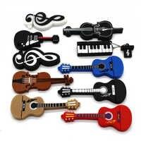 Texto de dibujos animados 64GB lindo instrumento Musical guitarra violín nota USB Flash Drive 1 GB 2GB 4GB 8GB 16GB 32GB Pendrive USB 2,0 Usb