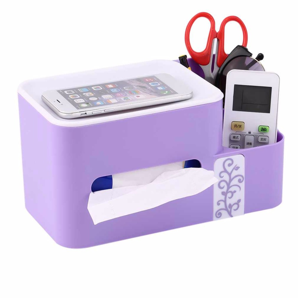 4 Colors Multifunctional Tissue Case Box Remote Control Storage Box Office Desk Organizer Storage Basket Holder Container