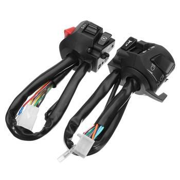 Para 12V motocykl 7 8 #8222 sterowanie kierownicą przełączanie klaksonu reflektor kierunkowskazu elektryczny przełącznik uruchamiający złącze przełącznik wciskany tanie i dobre opinie Audew Motorbike Horn Turn Signal Switch 400g 5 5cm 5 4cm 6 4cm PVC ABS Motocykl przełączniki