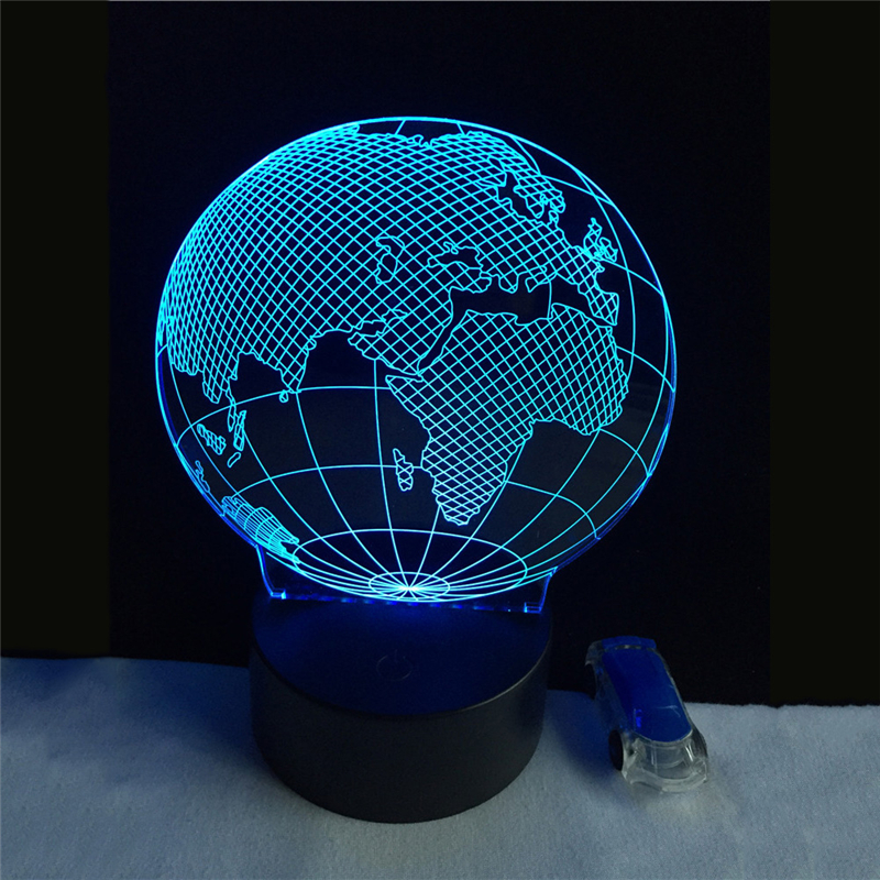 Acrylic 7 Color European globe 3D Flower LED nightlight of bedroom lamp livingroom lights desk table Decor Night Light Kid Gift