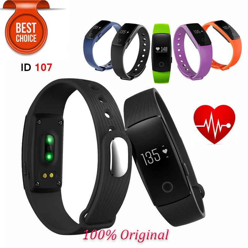 ID107 Bluetooth Smartband Heart Rate Monitor Wristband Fitness Flex Bracelet for
