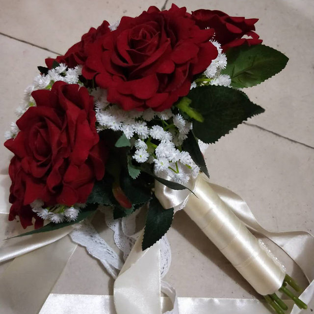 Online Shop 2018 Real Images Artificial Red Rose Wedding Bouquet ...