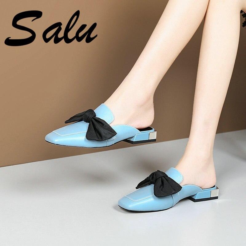 Salu Blue Women Sandals Ladies Summer Genuine Leather Shoes Woman Square Low Heels Sandals Fashion Casual