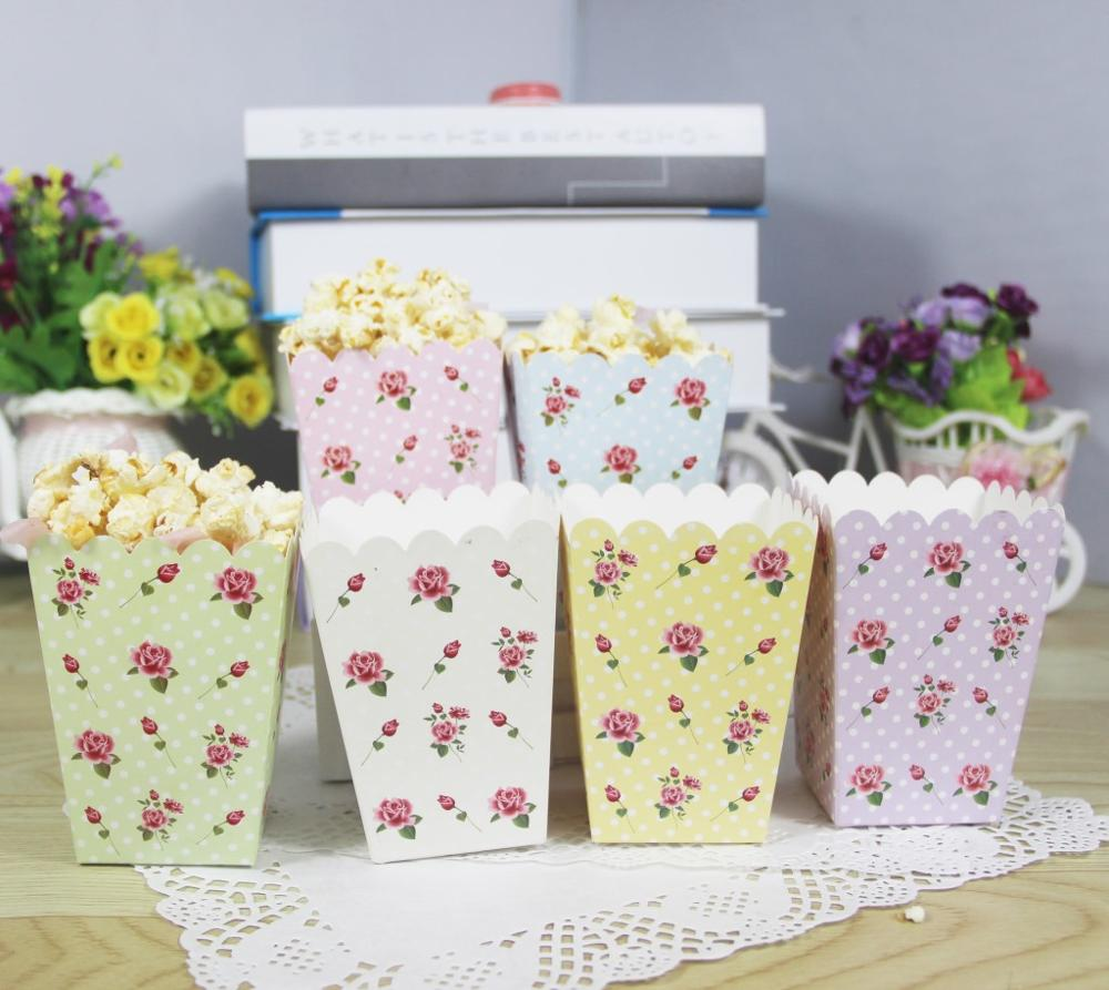 Vintage Rose Popcorn Boxes popcorn box tube chicken rice flower ...