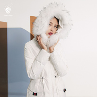 FANSILANEN 2019 Fashion New Arrival Autumn/Winter Straight Raccoon Fur Loose Solid White Womens Down Jackets Brands Z73148